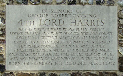 Memorial to 4th Lord Harris